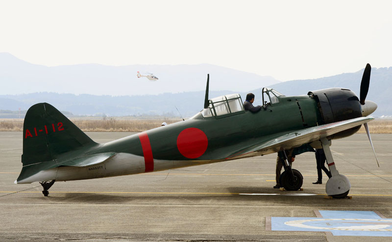 Mitsubishiu2019s legendary Zero fighters is prepared for a test flight at an air station in Kanoya, Kagoshima prefecture, southern Japan, on Wednesday, January 27, 2016. Photo: Hiroko Harima/Kyodo News via AP