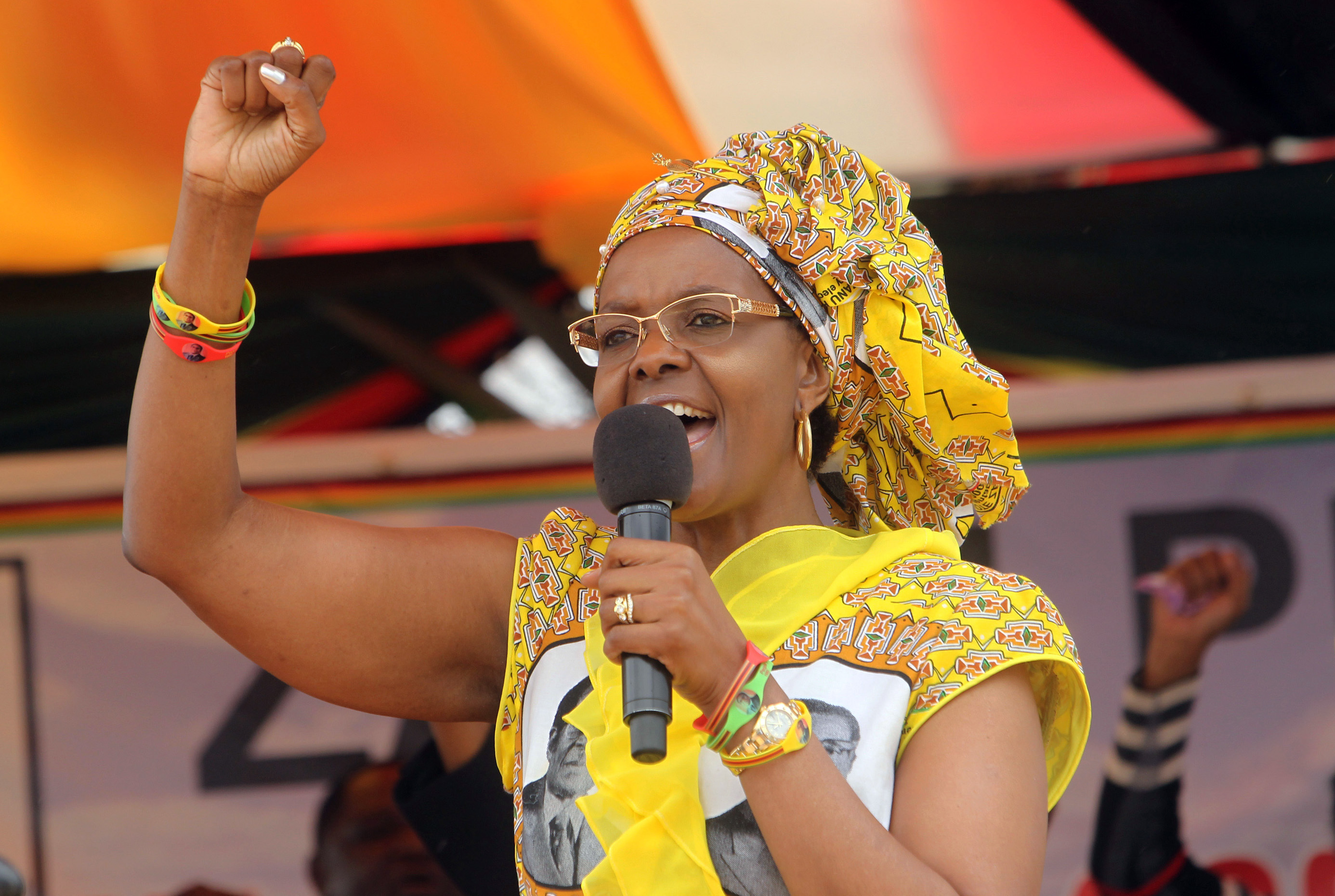 FILE - In this Thursday November 19, 2015 file photo, Zimbabwe's First Lady Grace Mugabe addresses party supporters at a rally in Harare, Mugabe is grabbing attention in Zimbabwe these days as she spends much of her time crisscrossing the country addressing supporters in remote areas. Photo: AP