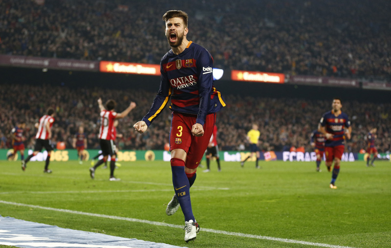FC Barcelona's Gerard Pique reacts after scoring against Athletic Bilbao during a quarterfinal, second leg, Copa del Rey soccer match at the Camp Nou stadium in Barcelona, Spain, Wednesday, January 27, 2016. Photo: AP