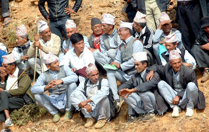 Locals gather to watch bullfighting. Photo: Balkrishna Thapa Chhetri/THT