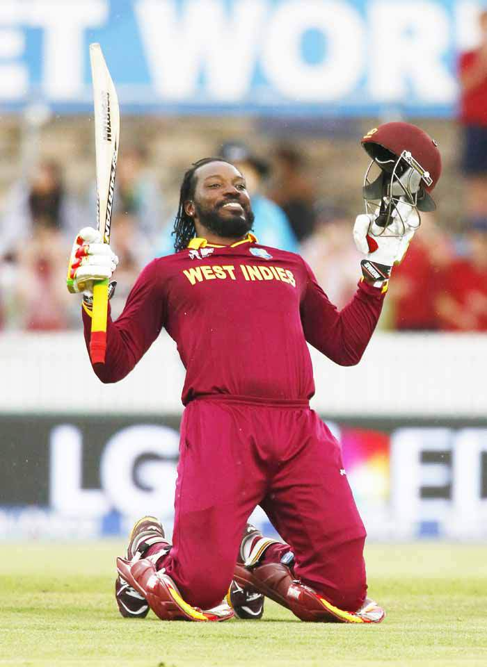 West Indies opening batsman Chris Gayle celebrates after hitting the winning run in this undated file photo. Photo: Reuters