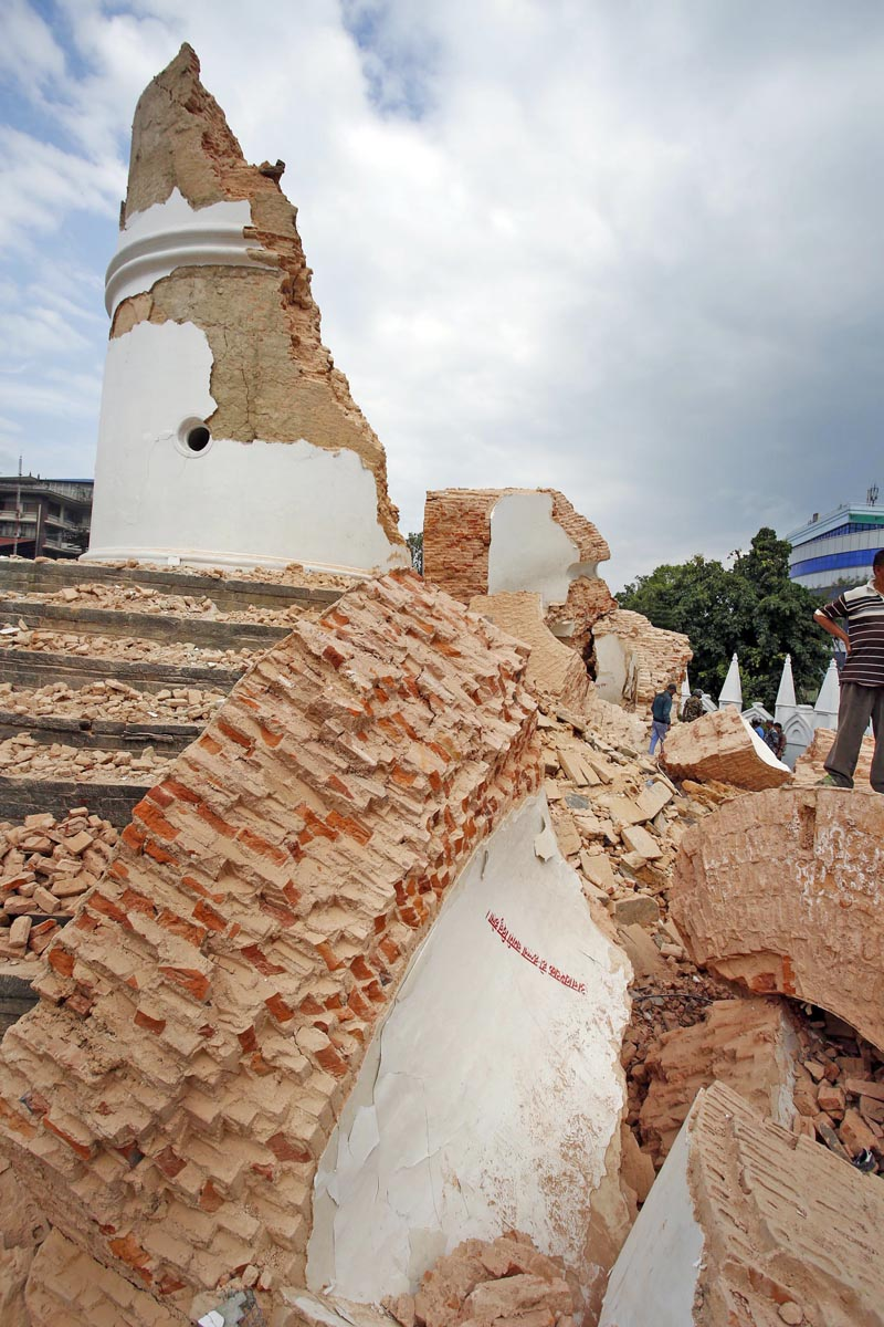 Ruins: Dharahara was one of the monuments that collapsed in the April 25 earthquake. Photo: THT/File