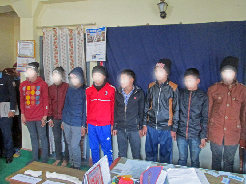 Eight murder suspects being made public in Tanahun District Police Office on Monday, January 25, 2016. Photo: Madan Wagle