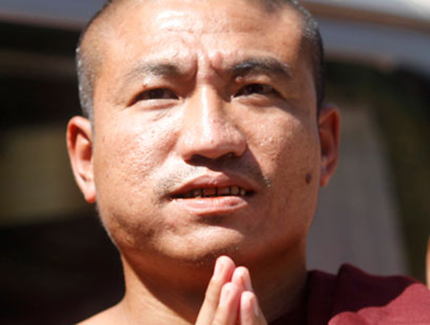 Former Buddhist monk Gambira is being detained in Mandalay on an immigration charge. (Photo: Reuters)n