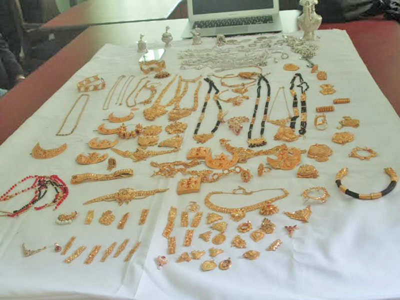 Allegedly stolen gold ornaments seized by police in Pokhara on Wednesday, January 6, 2016. Photo: Rishi Ram Baral