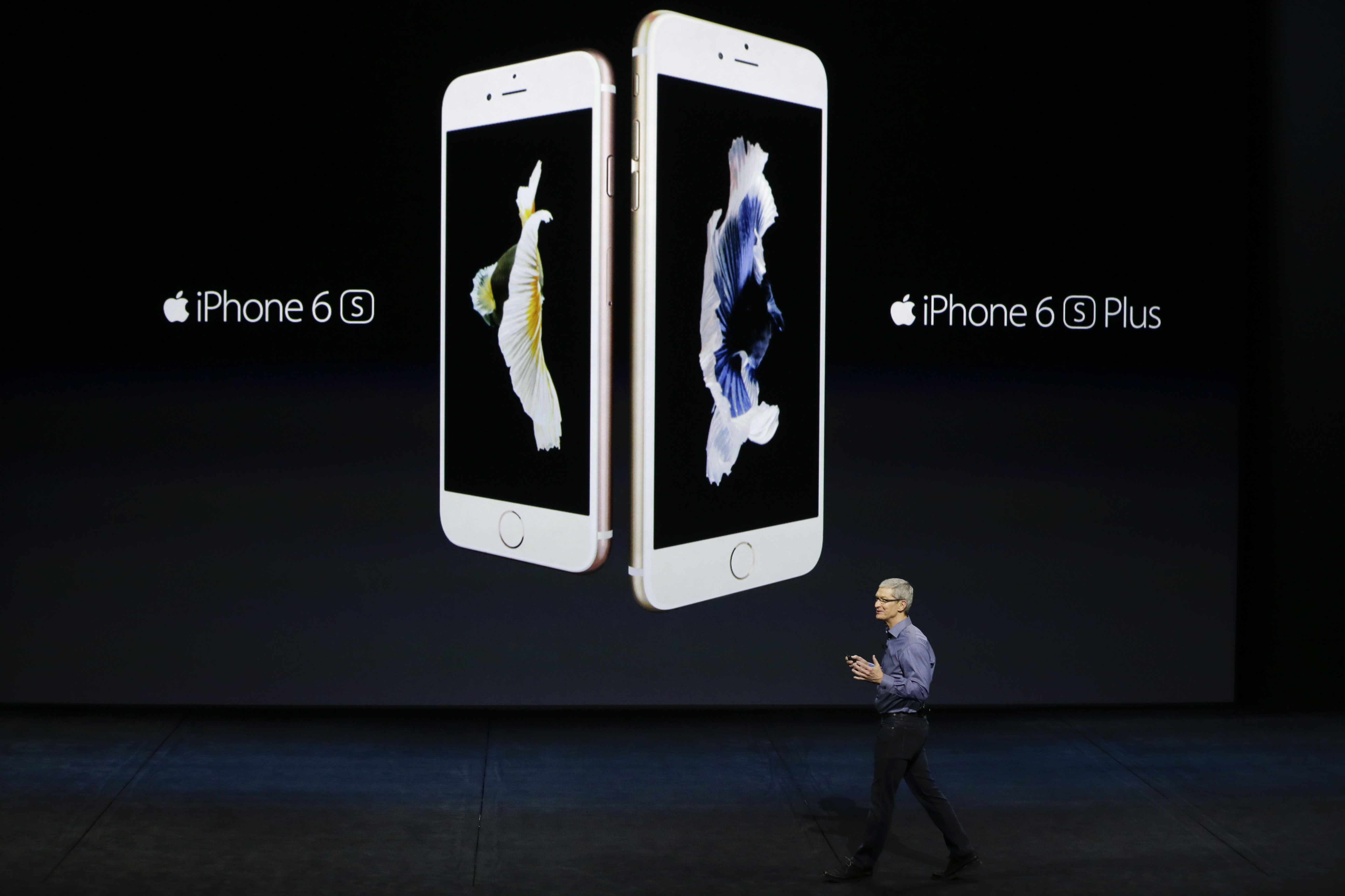 FILE - Apple CEO Tim Cook discusses the new iPhone 6s and iPhone 6s Plus during the Apple event at the Bill Graham Civic Auditorium in San Francisco, on Wednesday, September 9, 2015. Photo: AP