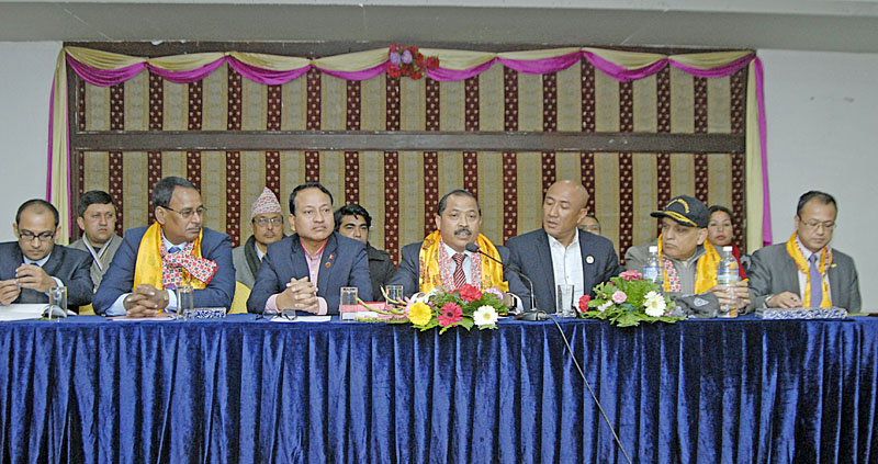 (From left) AK Singh, representatives of Ministry of Youth Affairs and Sports, Government of India, Mohd Mushtaque Ahmed, Member of Indian Olympic Committee, NSC Member Secretary Keshab Kumar Bista, Head of Indian delegates and Member of Parliament Vincent H Pala, NSC vice-president Lama Tendi Sherpa, RK Sharma, CEO of 12th SAG Organising Committee and Roshan Lepcha, Second Secretary of Embassy of India at the joint press conference in Kathmandu on Friday. Photo: Naresh Shrestha THT