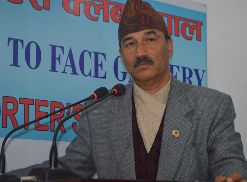 Deputy Prime Minister and Minister for Foreign Affairs Kamal Thapa speaks with journalists in Kathmandu, on Wednesday, January 6, 2016. Photo: Reporters' Club