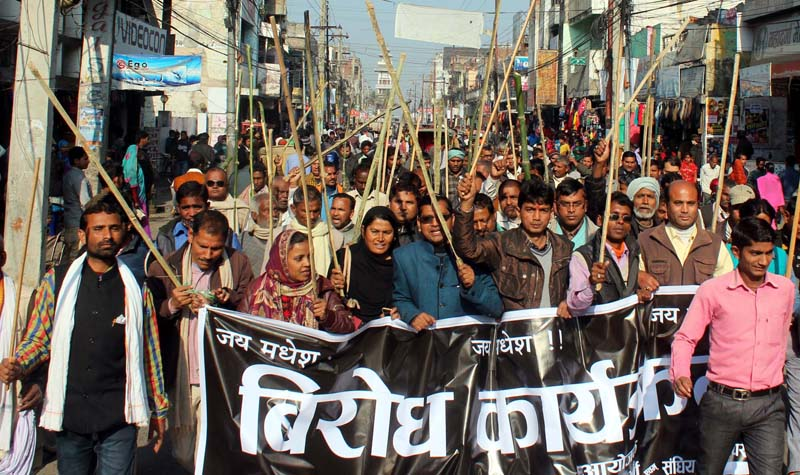 Cadres of the United Democratic Madhesi Front take out a lathi rally in Birgunj of Parsa district, on Saturday, January 16, 2016. Photo: Ram Sarraf