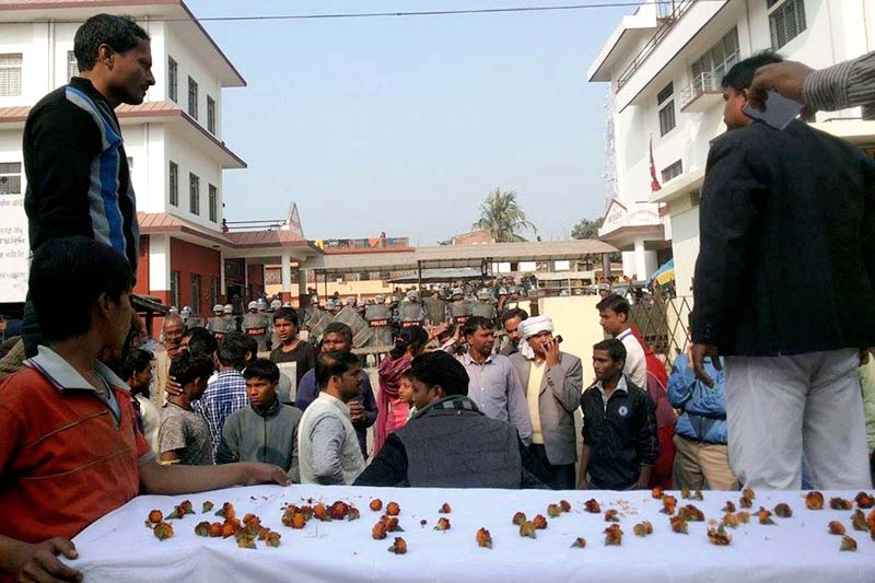 Leaders and cadres of the United Democratic Madhesi Front (UDMF) and National Muslim Struggle Alliance (NMSA) protesting in front of the District Administration Office, Rautahat, on Monday, January 04, 2016. Photo: Prabhat Kumar Jha/ THT