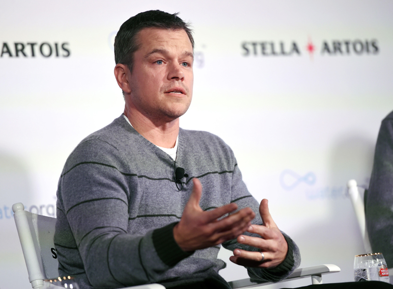 Actor Matt Damon, co-founder of Water.org, takes part in a panel discussion on the global water crisis during the 2016 Sundance Film Festival on Saturday, January 23, 2016, in Park City, Utah. Photo: AP