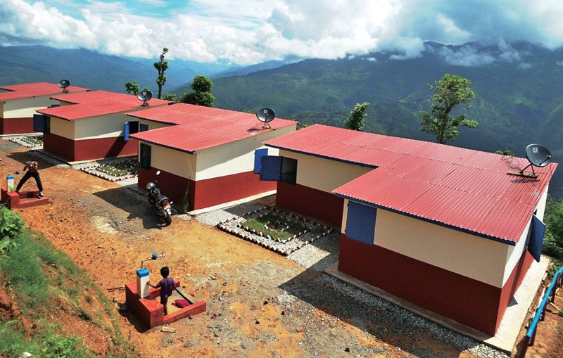 A view of the integrated model settlement built for the Pahari community, in Dandagaun, Kavre. Photo: THT
