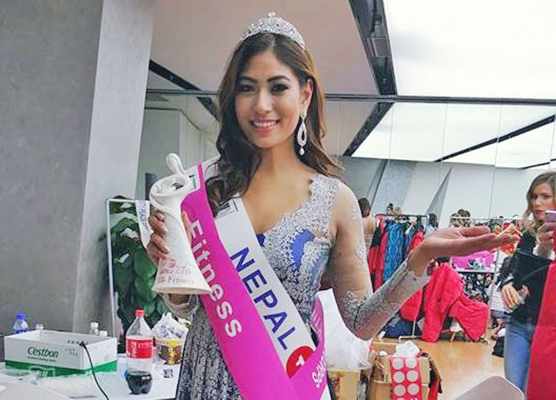 Nagma Shrestha, Miss Nepal Earth 2012, posing for a photo after winning the third runner-up and Miss Fitness award in World Miss University 2016 held in Beijing of China, on January 27, on Wednesday. Photo: Facebook
