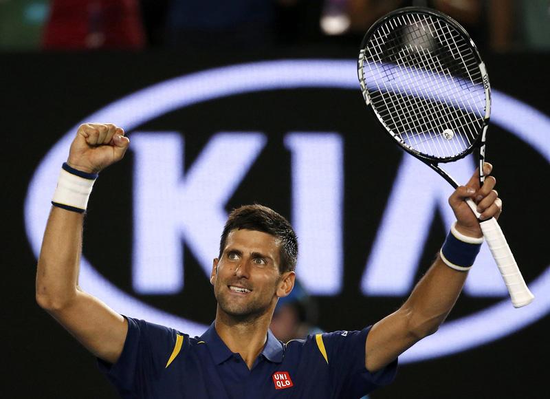 Serbia's Novak Djokovic celebrates after winning his quarter-final match against Japan's Kei Nishikori at the Australian Open tennis tournament at Melbourne Park, Australia, January 26, 2016. Photo: Reuters