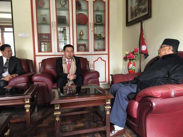 UCPN-Maoist Chairman Pushpa Kamal Dahal meeting visiting Chinese officials at this residence in Lazimpat. Photo: Twitter/CMPrachanda