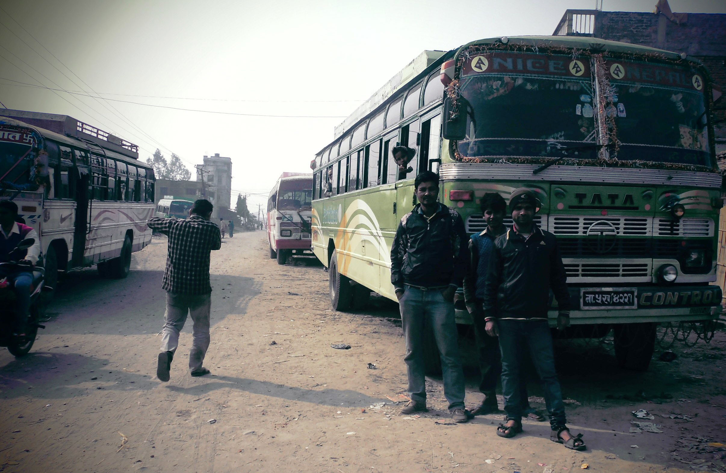 Public vehicles wating for passengers after transport services resumed in Gaur, Rautahat, on Wednesday. Photo: THT