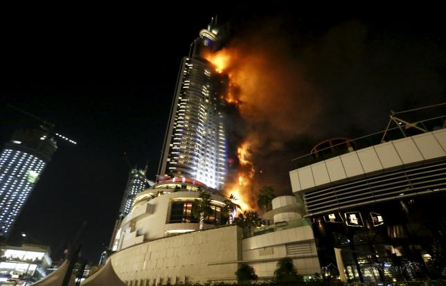 A fire engulfs The Address Hotel in downtown Dubai in the United Arab Emirates December 31, 2015. Photo: Reuters