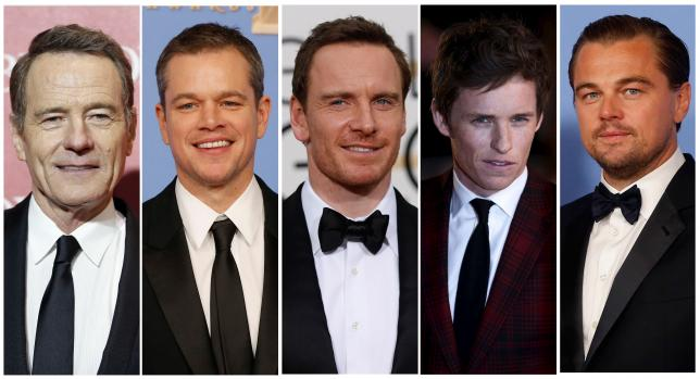 Oscar nominees for Best Actor are shown in this combination of file photos (L to R) Bryan Cranston, Matt Damon, Michael Fassbender, Eddie Redmayne, and Leonardo DiCaprio.  Phto: Reuters