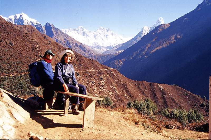 British couple Sian Pritchard-Jones and Bob Gibbons take a rest for at a point along the Sagarmatha trail during their trekking on Monday, January 18, 2016. Photo: RSS nThey have already published more than 10 books related to travel in Nepal and are planning to launch more books for travellers wishing to visit Nepal.