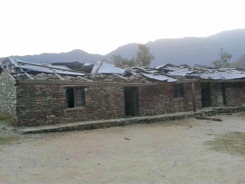 A building of the Navadurga Primary School in Kanda-8 of Bajura district damaged by a storm last year. Photo: Prakash Singh