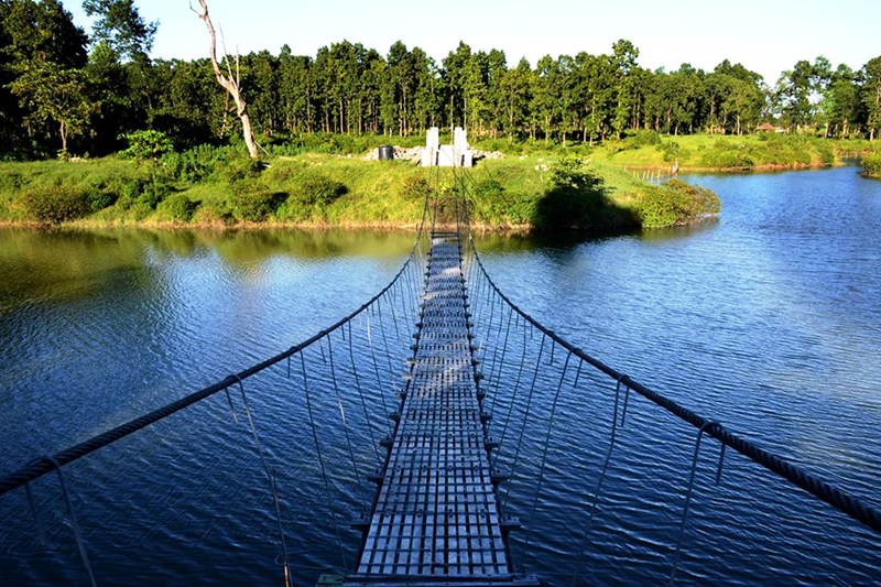 A suspension bridge is seen over the Jamunkhadi Simsar area in Jhapa district on Tuesday, January 26, 2016. Photo: RSS