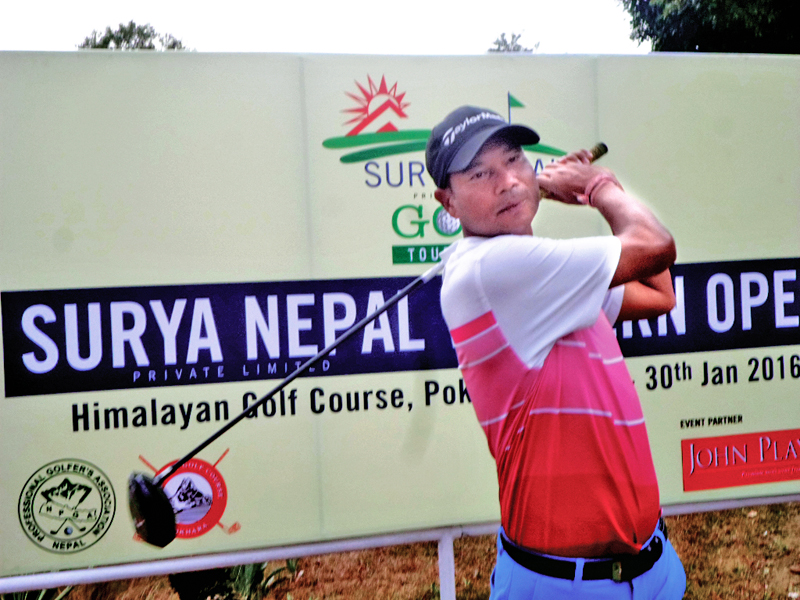 Bhuwan Nagarkoti plays a shot during the second round of the Surya Nepal Western Open at the nHimalayan Golf Course in Pokhara on Thursday, January 28, 2016. Photo: THT