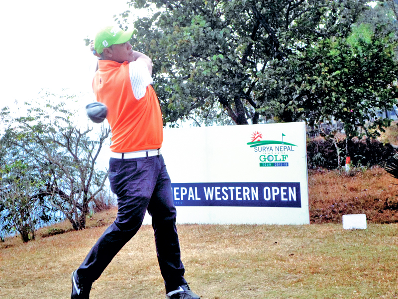 Nepal No 1 professional golfer Shiva Ram Shrestha plays a shot during the first round of the Surya Nepal Western Open at the Himalayan Golf Course in Pokhara on Wednesday, January 27, 2016. Photo: THT