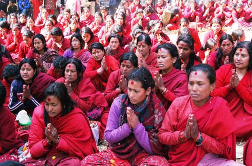 Women devotees who perform Shree Swasthani and Madhuv Narayan fast at Sali Nadiu201a Sankhuu201a pray to Lord Madhav Narayan at Changu Narayan Temple during a ritual 'last Paradesh Yatra' in Bhaktapur on Saturdayu201a February 4u201a 2012. Photo: THT/File