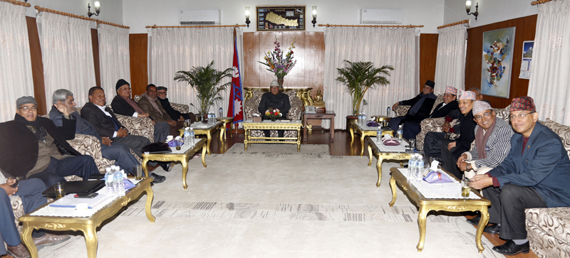 Top leaders of major five parties hold talks with the United Democratic Madhesi Front in Baluwatar, on Thursday, January 21, 2016. Photo: RSS