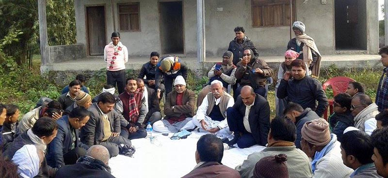 Leaders of the United Democratic Madhesi Front (UDMF) in Bara and Parsa districts gather for a meeting in Birgunj, on Saturday, January 23, 2016. Photo: Ram Sarraf/ THT