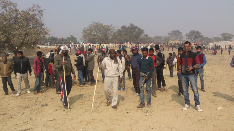 Cadres of the United Democratic Madhesi Front (UDMF) return from the Nepal-India border bridge after a clash with Indian smugglers, in Birgunj on Wednesday, January 6, 2016. Photo: Ram Sarraf