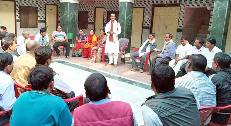 Leaders of United Democratic Madhesi Front participating in a meeting, in Birgunj, on Wednesday, January 20, 2016. Photo: THT
