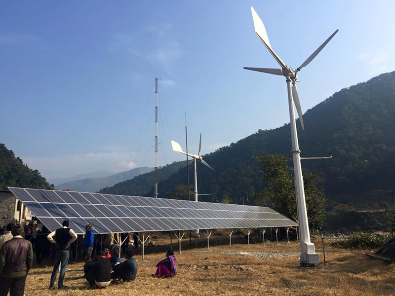 A wind-solar energy project being run in Phaparbari village of Makawanpur district. Photo: RSS