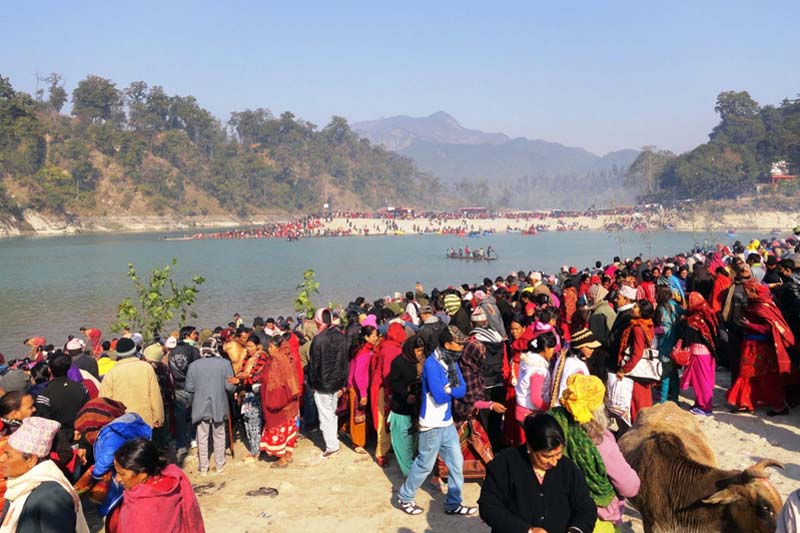 FILE - Devotees throng the Devghat Dham to observe the MagheSankranti festival. Photo: THT/ File