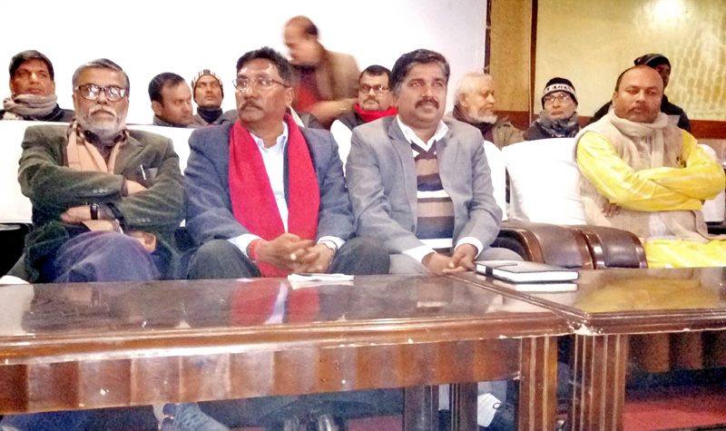 Leaders of the Federal Inclusive Madhesi Alliance participating in a press meet, in Birgunj, on Monday, February 1, 2016. Photo: THT