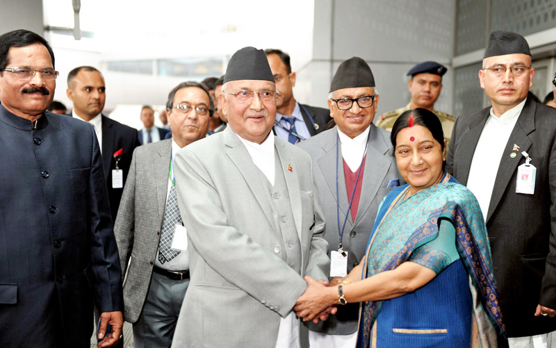 The Prime Minister of Nepal, Shri Khadga Prasad Sharma Oli being received by the Union Minister for External Affairs, Smt. Sushma Swaraj on his arrival, at Indira Gandhi International Airport, in New Delhi on February 19, 2016. Photo: MEA India
