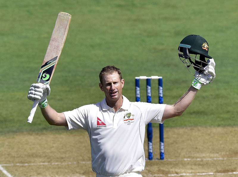 Adam Voges of Australia celebrates after scoring a century against New Zealand on the second day of their first Test match at the Basin Reserve, in Wellington, on Saturday. Photo: AFP