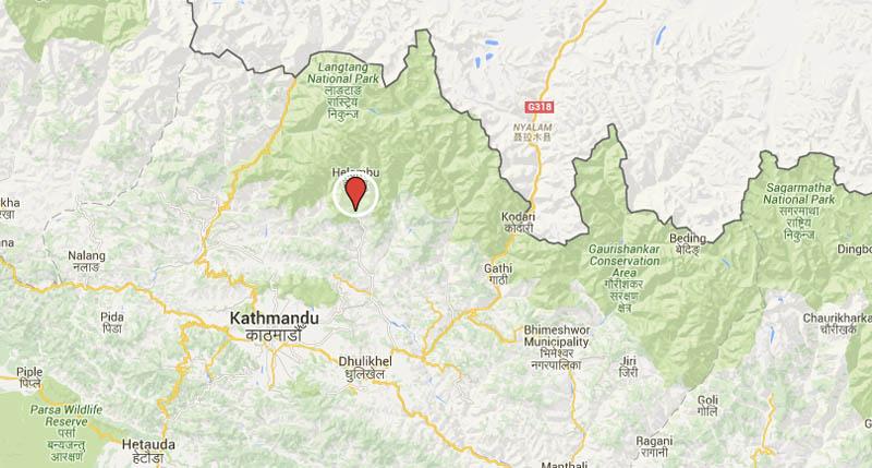 Aftershock in Sindhupalchok district. Source: Google Maps