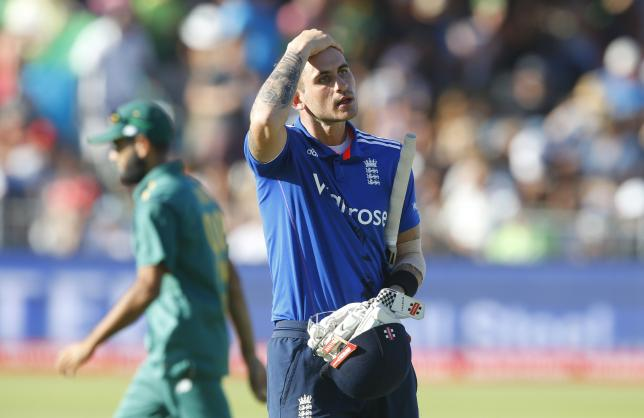 England's Alex Hales leaves the field after being dismissed on 99 during the second One Day International cricket match against South Africa in Port Elizabeth, February 6, 2016. REUTERS/Mike Hutchings