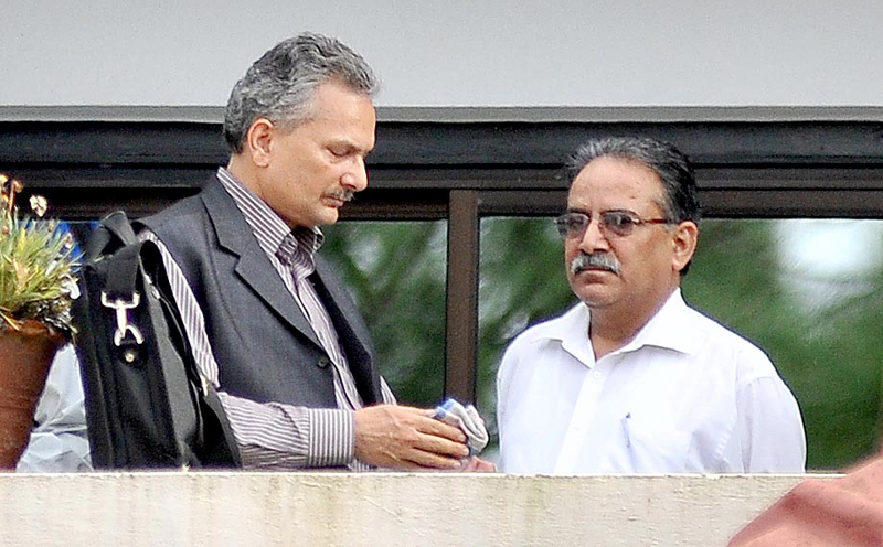 The then UCPN-Maoist leader Baburam Bhattarai (left) and UCPN-Maoist Chairman Pushpa Kamal Dahal. Photo: THT/File