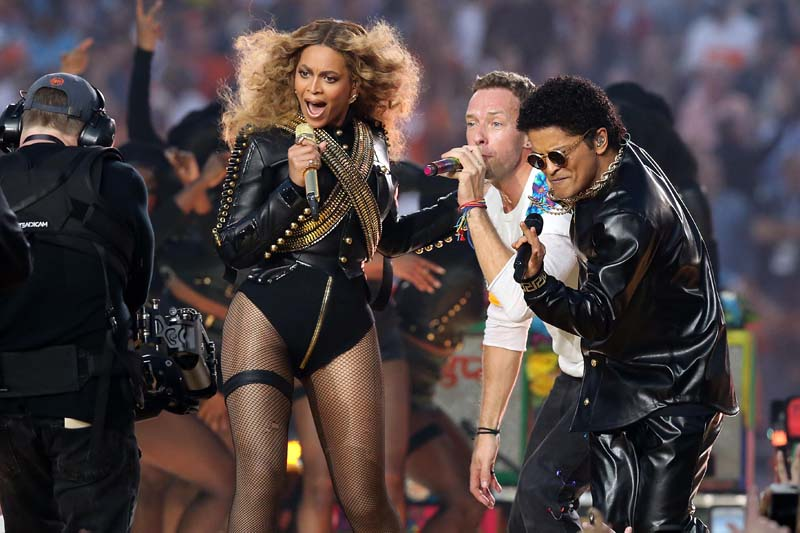 Recording artist Beyonce, Coldplay singer Chris Martin and recording artist Bruno Mars perform during halftime in Super Bowl 50 at Levi's Stadium in Santa Clara, California on February 7, 2016. Photo: USA Today via Reuters