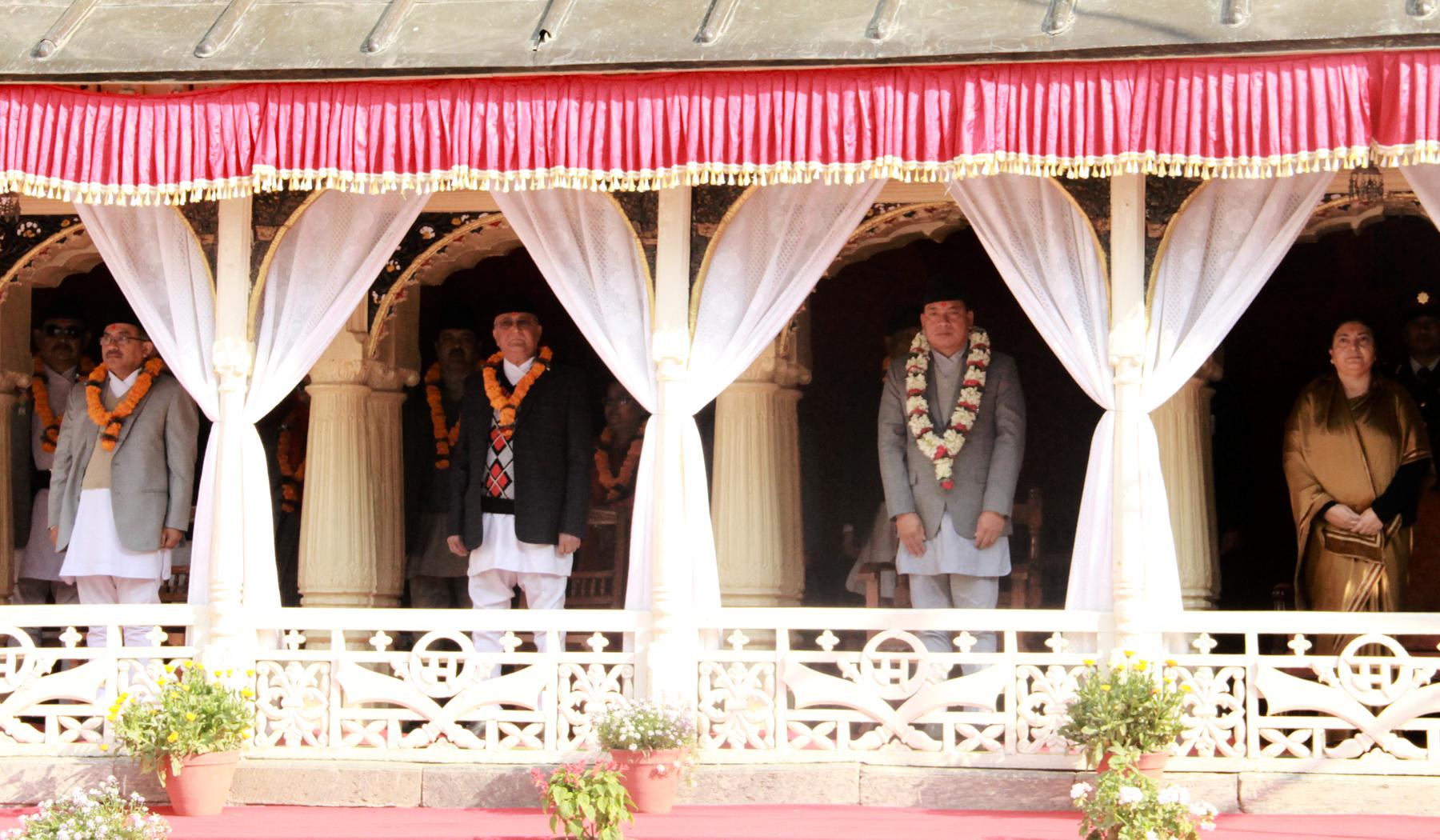 (From right) President Bidya Devi Bhandari, Vice-President Nanda Bahadur Pun, Prime Minister KP Sharma Oli and Chief Justice Kalyan Shrestha attending a programme organised on the occasion of Basanta Panchami at Hanumandhoka in the Capital on Saturday, February 13, 2016. Photo: RSS
