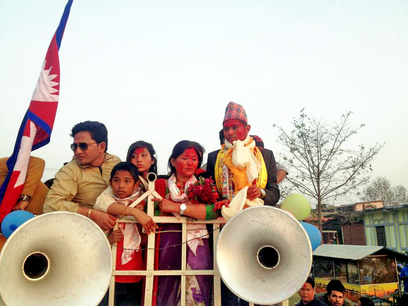 Nepal's men football team striker Bimal Gharti Magar being feted and taken out in a rally in his hometown in Nawalparasi district on Friday, February 19, 2016. Photo: Shreeram Sigdel