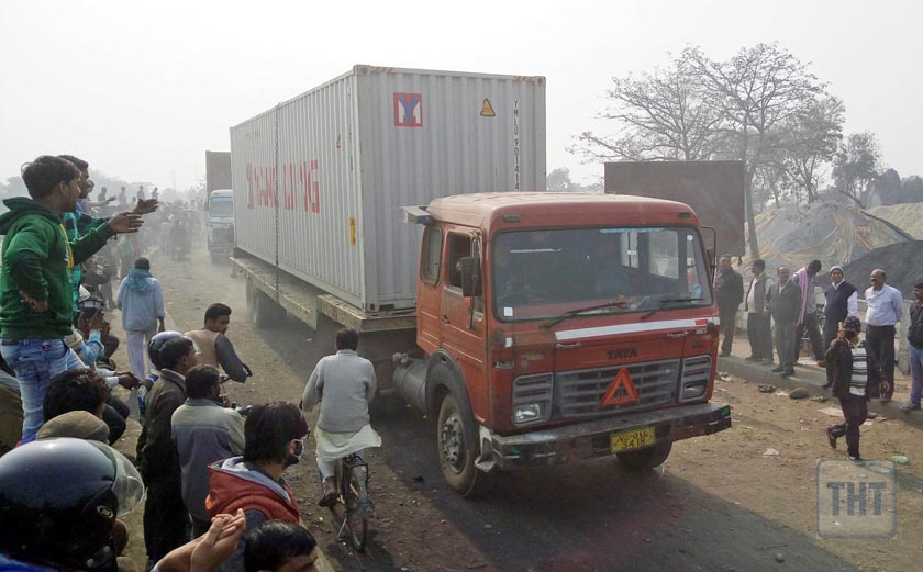 A container enters Nepal via Birgunj-Raxaul border point after local traders remove protesters from the border