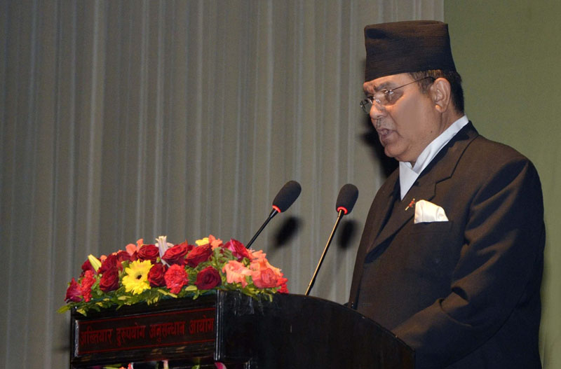Chief of Commission for the Investigation of Abuse of Authority (CIAA) Lok Man Singh Karki addresses the 25th anniversary function of the Commission, on Thursday, February 18, 2016. Photo: CIAA