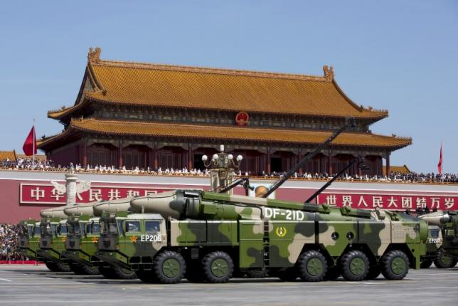 Chinese military vehicles carrying DF-21D anti-ship ballistic missiles, potentially capable of sinking a US Nimitz-class aircraft carrier in a single strike, travel past Tiananmen Gate during a military parade to commemorate the 70th anniversary of the end of World War II in Beijing, in this September 3, 2015 file photo: Reuters