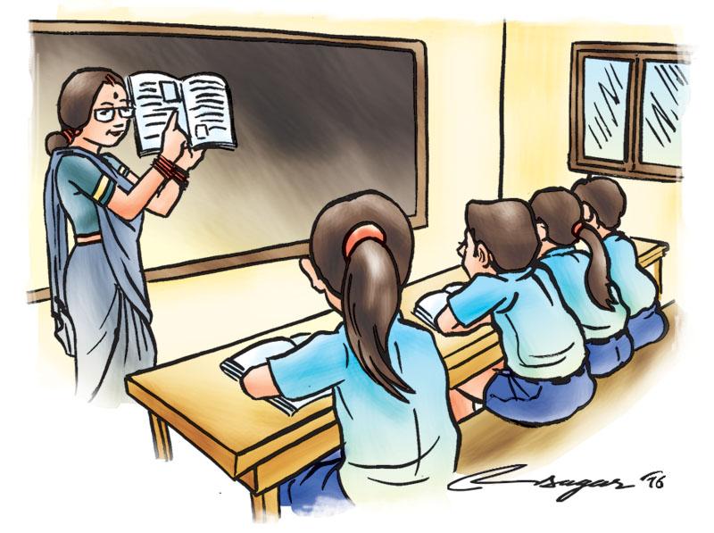 A classroom. Illustration: Ratna Sagar Shrestha/THT