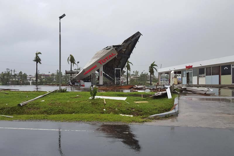 Bylinea service station lays in ruin after Cyclone Winston swept through the town of Ba on Fiji's Viti Levu Island, on February 21, 2016. Photo: Reuters