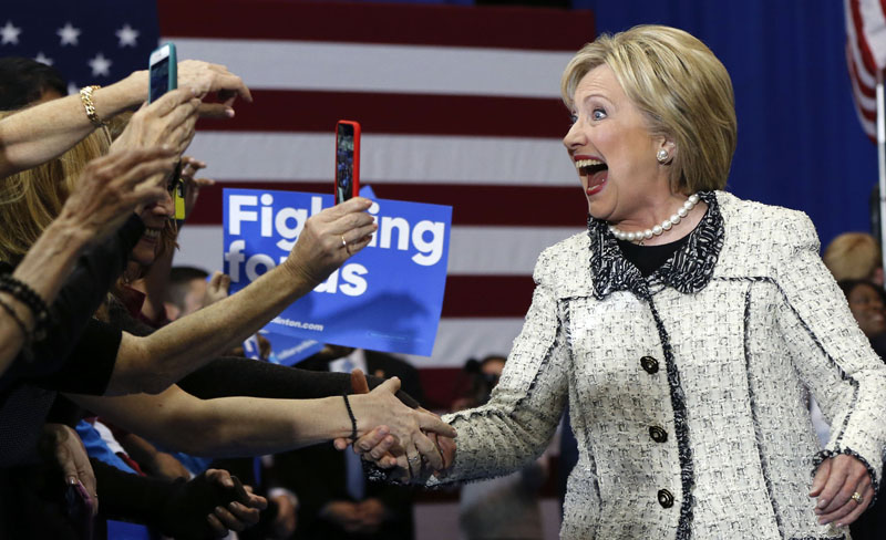 Democratic presidential candidate Hillary Clinton greets supporters at her election night watch party after winning the South Carolina Democratic primary in Columbia, South Carolina, on Saturday, February 27, 2016. Photo: AP