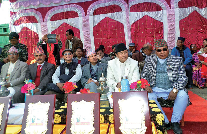 Deputy Prime Minister and Minister for Defence Bhim Rawal (third from right) attending the inauguration of Taksar festival, in Bhojpur, on Friday. Photo: THT